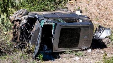 Así quedó el coche de Tiger Woods tras el accidente