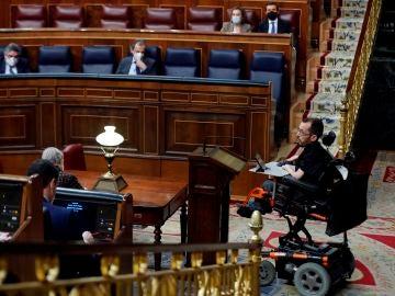 El portavoz de Unidas Podemos, Pablo Echenique, interviene en el Congreso.