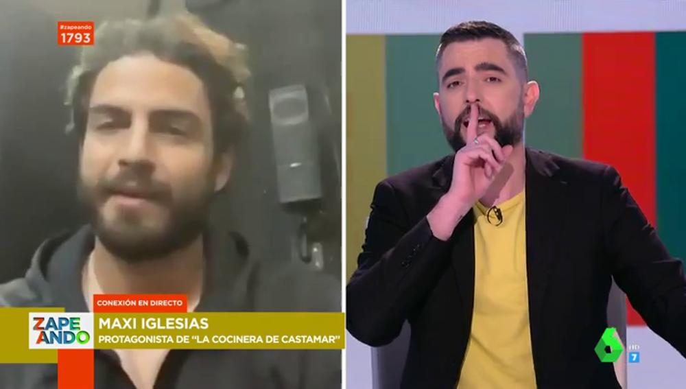 """La reacción de Dani Mateo ante la inesperada broma de Maxi Iglesias sobre Zapeando: """"Hasta aquí la entrevista"""""""