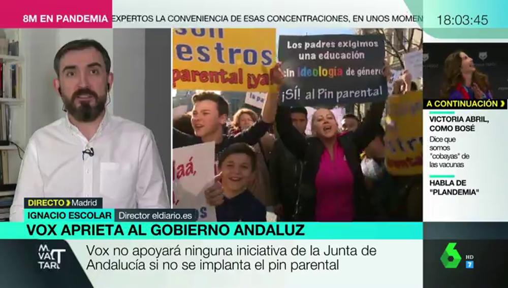 """El rotundo alegato de Ignacio Escolar en contra del pin parental propuesto por Vox: """"Los colegios no son a la carta"""""""