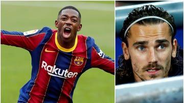 Dembélé celebra un gol con el Barça; Griezmann, en el banquillo