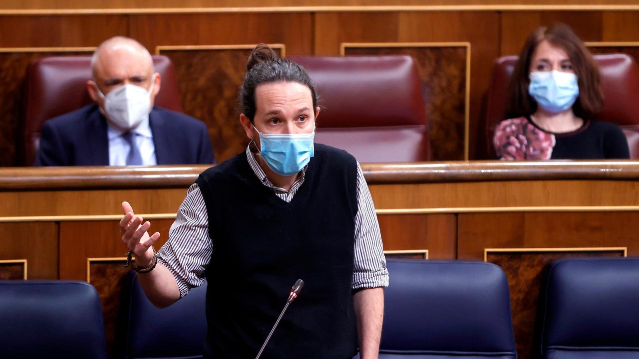 El vicepresidente segundo y ministro de Derechos Sociales y Agenda 2030, Pablo Iglesias, interviene en el Congreso de los Diputados