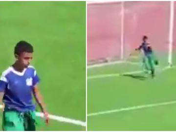 El niño recogepelotas que salvó un gol en Argelia