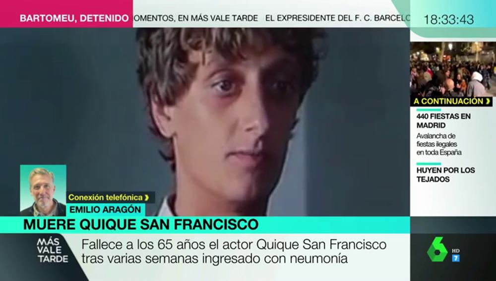 """Emilio Aragón recuerda a Quique San Francisco: """"No nos queda más remedio que poner buena música, abrir unas cervezas y brindar por él"""""""