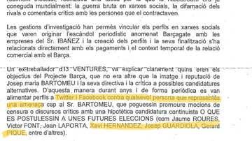 Fragmento del sumario de la investigación del 'Barçagate'