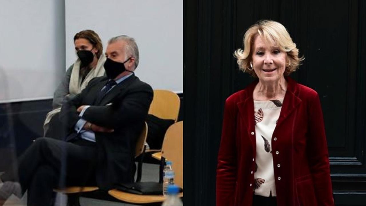 A la izquierda, Luis Bárcenas declarando en el juzgado; a la derecha, Esperanza Aguirre.