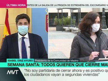 """López Miras pide restringir la movilidad durante la Semana Santa: """"Tenemos una cuarta ola llamando a la puerta, hay que ser prudentes"""""""
