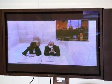 El extesorero del PP Luis Bárcenas comparece por videoconferencia en la Comisión del Congreso de los Diputados.