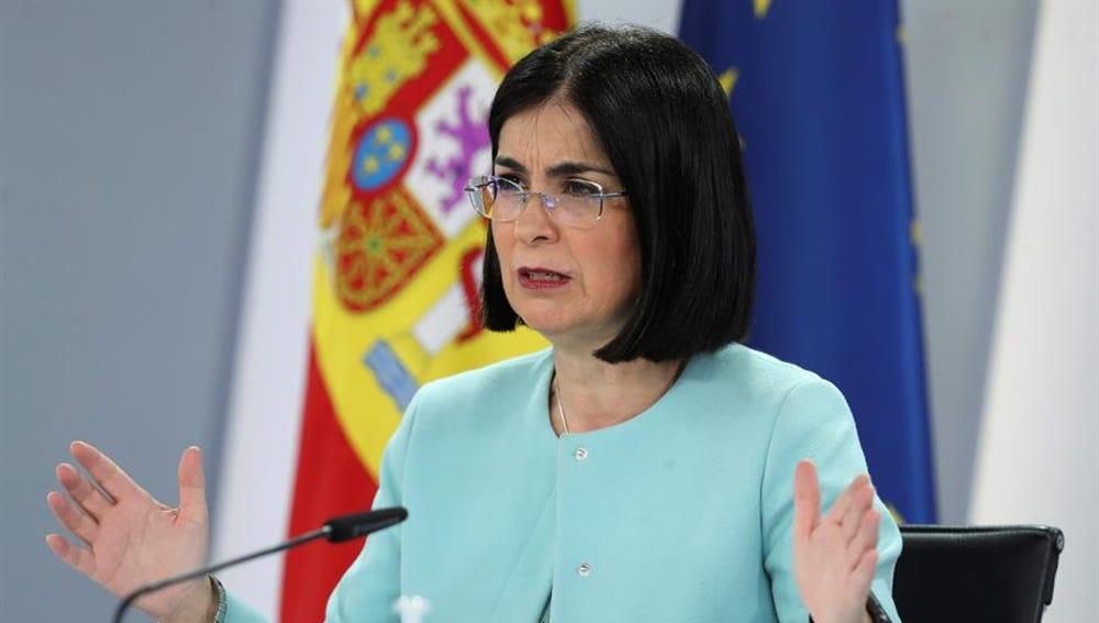 a Ministra de Sanidad, Carolina Darias, durante la rueda de prensa tras el Consejo Interterritorial de Sanidad.