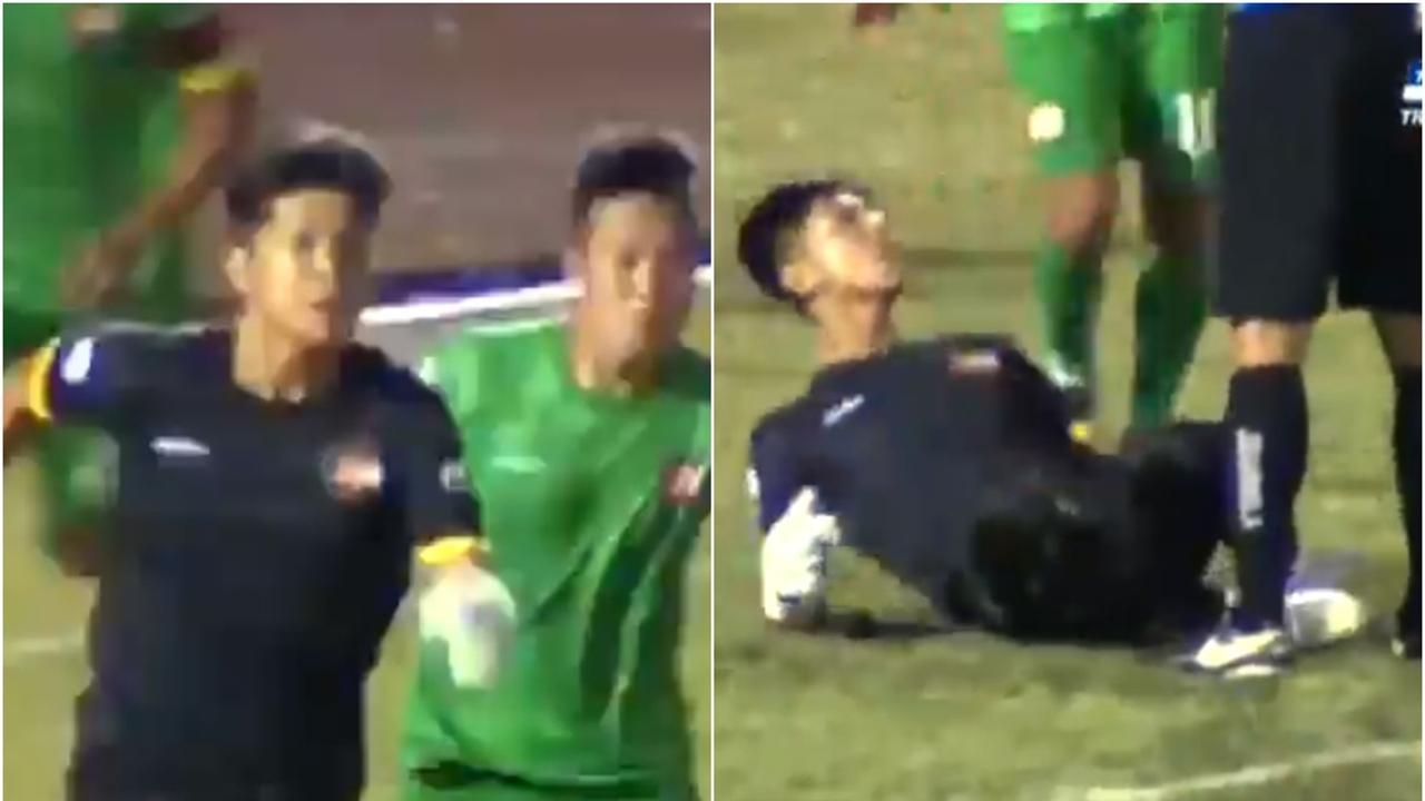 Un portero de Vietnam pierde la cabeza y celebra una parada delante del árbitro