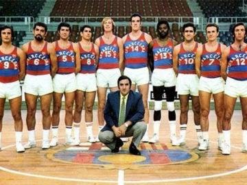Plantilla del Barça basket en la década de los 80, con Charles Thomas en sus filas