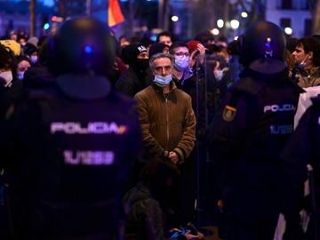 La Policía vigila la manifestación a favor de Hasél en Madrid de este sábado