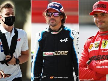 Mick Schumacher, Fernando Alonso y Carlos Sainz