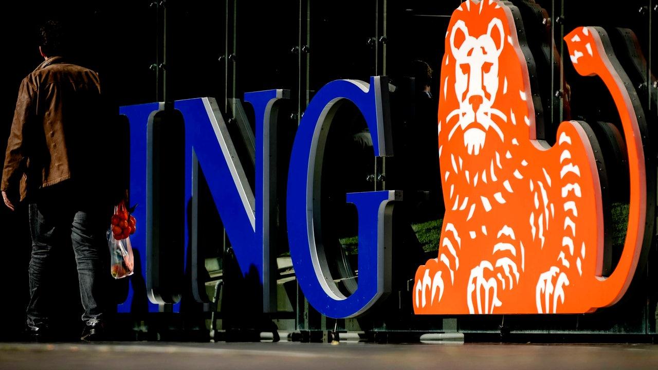 Logotipo del banco holandés ING en Ámsterdam