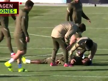 Dembélé da el susto en el entrenamiento del Atleti: se desmayó y fue atendido por una ambulancia