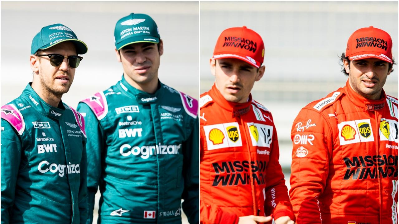 Sebastian Vettel, Lance Stroll, Charles Leclerc y Carlos Sainz