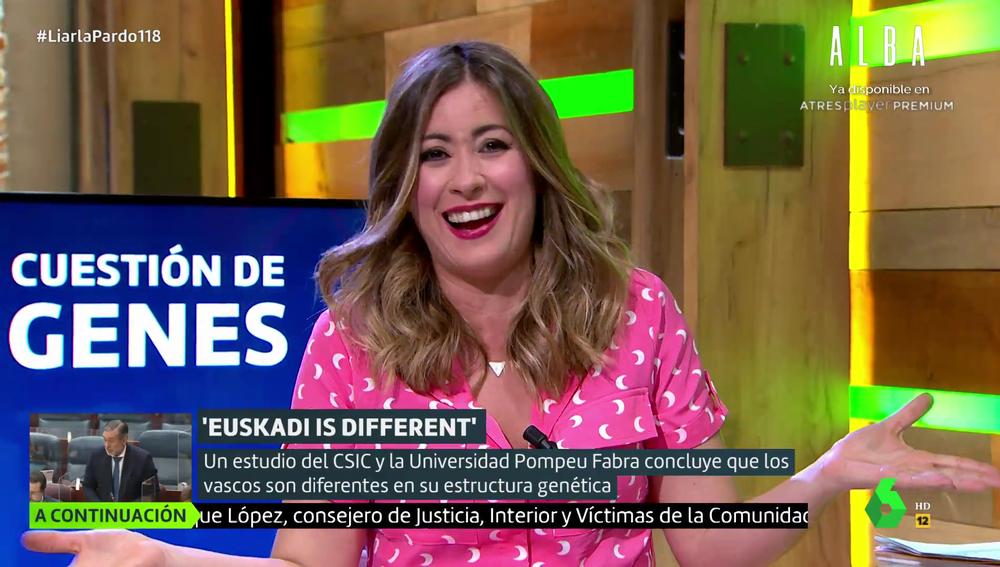 """Inés Paz desata las risas en el plató de Liarla Pardo al hablar de la genética de los vascos: """"Nos deja locos"""""""