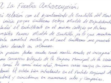 Parte de la carta enviada por Francisco Correa a la Fiscalía Anticorrupción.