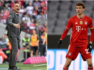 Pep Guardiola y Thomas Müller