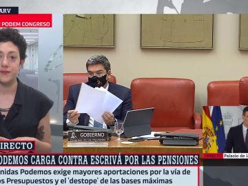 La portavoz de Unidas Podemos, Aina Vidal, en Al Rojo Vivo
