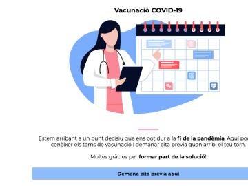 Web para pedir cita para vacunarse en Cataluña