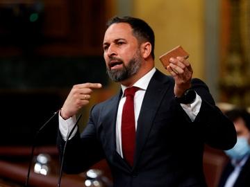 Abascal muestra un adoquín en el Congreso