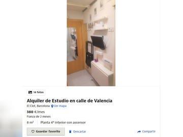 El anuncio de Idealista en el piden 380 euros por el alquiler de un estudio de 8 metros cuadrados en Barcelona