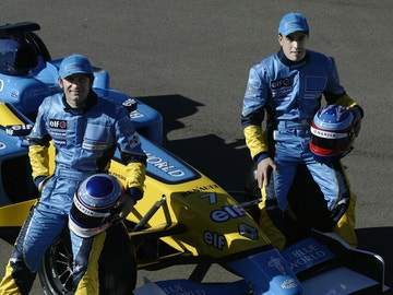 Jarno Trulli y Fernando Alonso en Renault