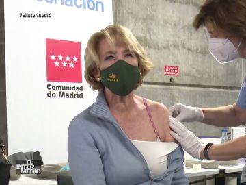 """Vídeo manipulado - La inesperada reacción de Esperanza Aguirre al vacunarse: """"¡Me quemo!"""""""