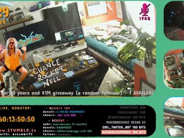 Un streamer, encerrado en su habitación como parte de su directo ininterrumpido