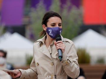 Irene Montero en un acto de precampaña sobre derechos LGTBI