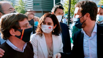 José Luis Martínez-Almeida, Isabel Díaz Ayuso y Pablo Casado, en el arranque de la campaña del 4M en Madrid