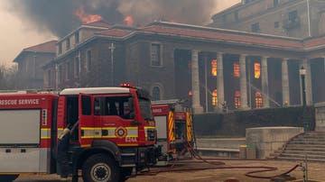 Imagen del incendio en la Universidad de Ciudad del Cabo