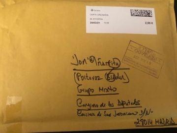 El sobre que recibió el diputado Iñarritu.