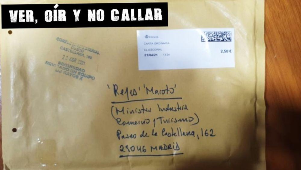 Imagen del sobre recibido por la ministra Reyes Maroto