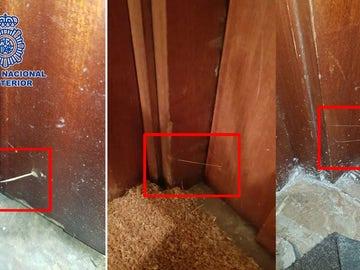 Hilos de pegamento en las puertas
