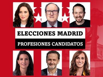 Elecciones Madrid: Ayuso, Gabilondo, García, Iglesias, Monasterio, Bal... estas son sus profesiones