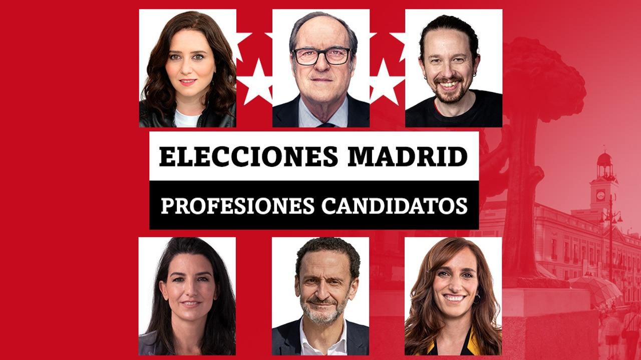 Isabel Díaz Ayuso, Pablo Iglesias, Rocio Monasterio, Gabilondo, García, Bal... Las profesiones de los candidatos en las elecciones de Madrid