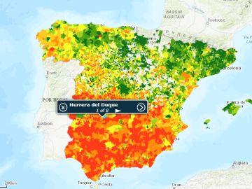 El mapa de la renta media de España facilitado por el INE