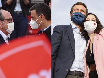 Ángel Gabilondo junto a Pedro Sánchez e Isabel Díaz Ayuso con Pablo Casado en sus actos de cierre campaña