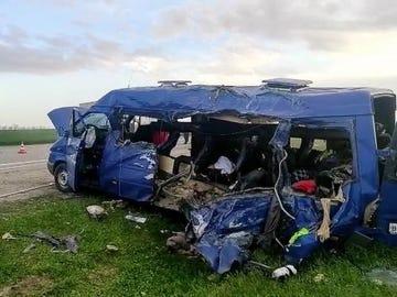 Furgoneta en la que viajaban las cinco jugadoras fallecidas en un accidente