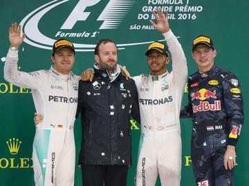 Nico Rosberg, Lewis Hamilton y Max Verstappen
