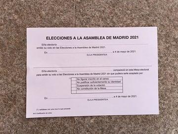 Elecciones Madrid: este es el justificante que entregan a aquellos que necesitan permiso en el trabajo