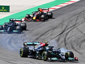 Bottas, Hamilton y Verstappen