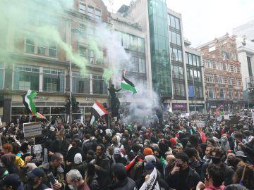 Protesta frente a la embajada de Israel en Londres