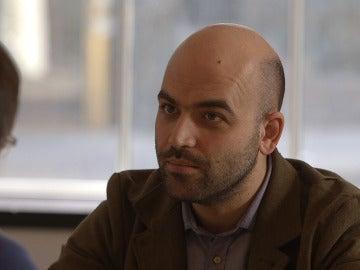 Roberto Saviano, en un momento de la entrevista con Évole