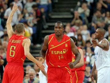 Ibaka, en un partido con España
