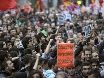 Estudiantes durante una jornada de huelga en Madrid