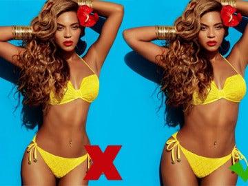 Beyonce en una campaña de ropa, antes y después de pasar por Photoshop.