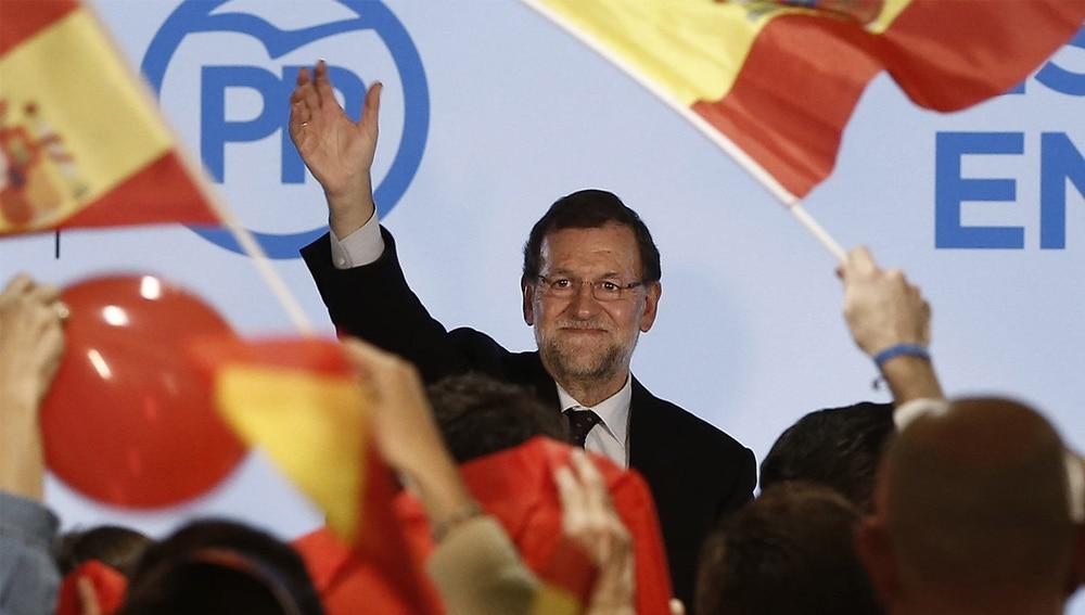 Rajoy durante el mitin en Zaragoza